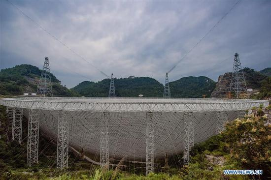 Photo taken on Sept. 10, 2018 shows China's Five-hundred-meter Aperture Spherical Radio Telescope (FAST) in southwest China's Guizhou Province. FAST has discovered 44 new pulsars so far. (Xinhua/Liu Xu)