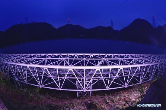Photo taken on Sept. 11, 2018 shows China's Five-hundred-meter Aperture Spherical Radio Telescope (FAST) in southwest China's Guizhou Province. FAST has discovered 44 new pulsars so far. (Xinhua/Ou Dongqu)