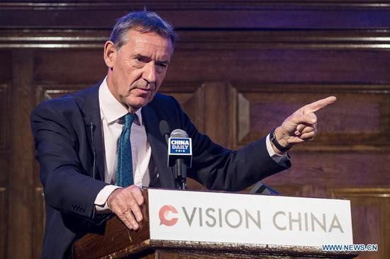 "Jim O'Neill, chairman of renowned British think tank Chatham House, speaks during a forum themed ""40 Years on: China and the World"" in London, Britain, on Sept. 13, 2018. Some of the most renowned British scholars on Thursday spoke highly of China's reform and opening up policy which, initiated 40 years ago, continues to transform the county itself and impact the world at large. (Xinhua/Stephen Chung)"