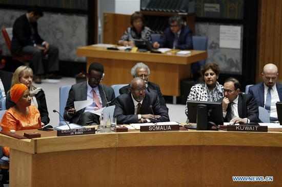 Abukar Dahir Osman (C, front), Permanent Representative of Somalia to the United Nations, addresses the Security Council on the situation in Somalia, at the UN headquarters in New York, Sept. 13, 2018. The outgoing UN envoy for Somalia, Michael Keating, on Thursday warned that terrorism and political differences will derail progress in Somalia. (Xinhua/Li Muzi)
