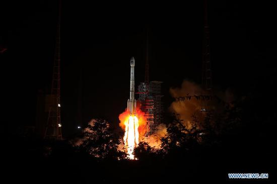 China sends twin BeiDou-3 navigation satellites into space on a single carrier rocket from Xichang Satellite Launch Center in Xichang, southwest China's Sichuan Province, Sept. 19, 2018. (Xinhua/Liang Keyan)