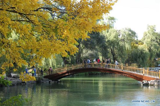 Tourists visit the Chengde Mountain Resort in Chengde, north China's Hebei Province, Oct. 7, 2018. China witnessed 726 million domestic tourists during the National Day holidays on Oct. 1-7, growing by 9.43 percent year on year. (Xinhua/Liu Huanyu)