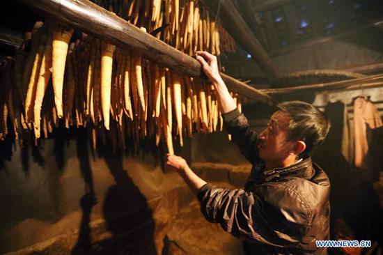 A farmer checks bamboo shoots during a baking process in Lianhua Village of Baoyuan Township, Chishui, southwest China's Guizhou Province, Oct. 14, 2018. There are 1.32 million mu (0.88 million hectares) of bamboo forests in Chishui. The bamboo-related industry has become an income booster for the locals. (Xinhua/Wang Changyu)