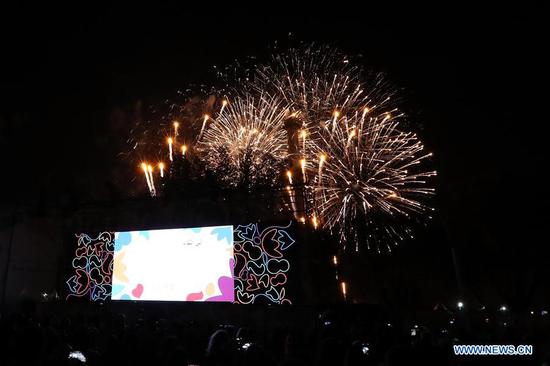 Fireworks explode during the closing ceremony of the 2018 Summer Youth Olympic Games at the Youth Olympic Village in Buenos Aires, Argentina, on Oct. 18, 2018. (Xinhua/Li Ming)