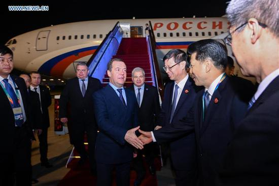 Visiting Russian Prime Minister Dmitry Medvedev arrives in Shanghai, east China, Nov. 5, 2018, to attend the first China International Import Expo (CIIE) which runs from Nov. 5 to 10. (Xinhua/Chen Yehua)