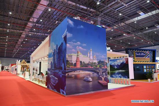 The Russia pavilion is seen during the first China International Import Expo (CIIE) in Shanghai, east China, Nov. 5, 2018. A total of 82 countries and three international organizations showcased their achievements in economic and trade development as well as competitive products at 71 booths in the Country Pavilion for Trade and Investment at the CIIE. (Xinhua/Sadat)