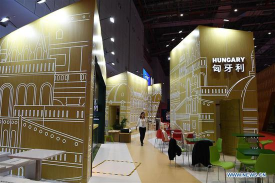 The Hungary pavilion is seen at the first China International Import Expo (CIIE) in Shanghai, east China, Nov. 5, 2018. A total of 82 countries and three international organizations showcased their achievements in economic and trade development as well as competitive products at 71 booths in the Country Pavilion for Trade and Investment at the CIIE. (Xinhua/Sadat)