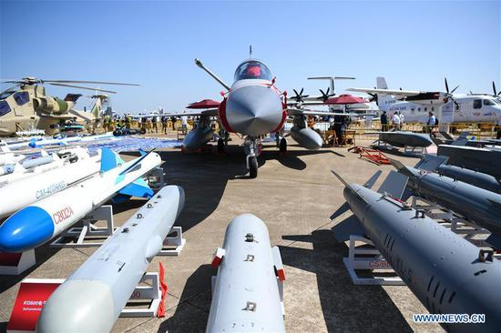 A Pakistani JF-17 fighter jet, co-developed by China and Pakistan, is displayed at the 12th China International Aviation and Aerospace Exhibition (Airshow China) in Zhuhai, south China's Guangdong Province, Nov. 6, 2018. Opening Tuesday in Zhuhai, the airshow runs until Nov. 11 and is attended by over 700 exhibitors from 40 countries and regions. (Xinhua/Deng Hua)