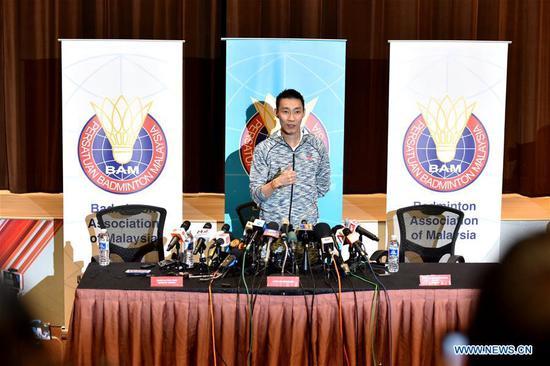 Malaysian badminton player Lee Chong Wei holds a press conference in Kuala Lumpur, Malaysia, Nov. 8, 2018. (Xinhua/Chong Voon Chung)