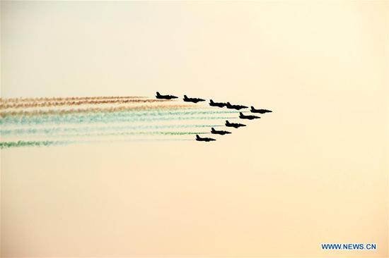 Pakistani jets perform during an air show in Pakistan's southern port city of Karachi, on Nov. 29, 2018. Pakistan's armed forces presented an air show and anti-terrorism demonstration in Karachi as part of the 10th edition of the International Defense Exhibition and Seminar (IDEAS-2018). (Xinhua/Stringer)