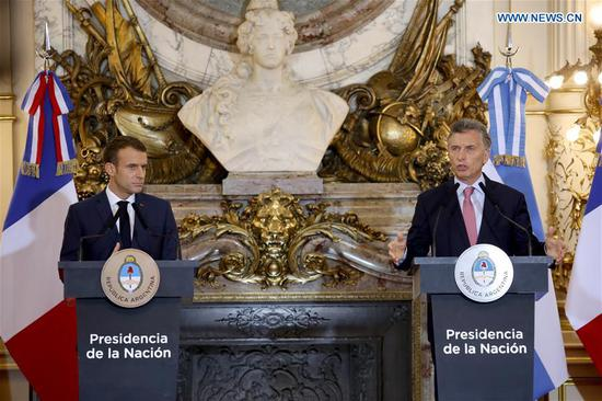 Argentine President Mauricio Macri (R) and French President Emmanuel Macron attend a press conference in Buenos Aires, Argentina, Nov. 29, 2018. (Xinhua/Martin Zabala)