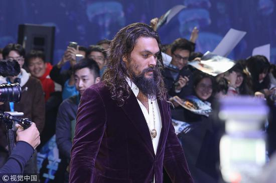 "Actor Jason Momoa attends a press conference for the film ""Aquaman"" in Beijing, China, November 18, 2018. /VCG Photo"