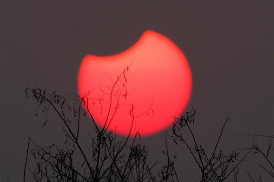 A partial solar eclipse is observed as the moon passes in front of the sun in Beijing, capital of China, Jan. 6, 2019. (Xinhua/Wang Junfeng)