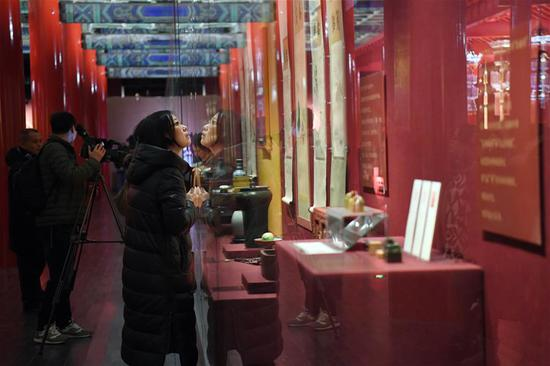 People visit the Palace Museum, also known as the Forbidden City in Beijing, capital of China, Jan. 7, 2019. In celebrating of the most magnificent of all traditional holidays, the Palace Museum presents exhibition of
