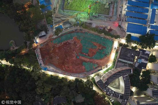 A bird-eye view of the construction site where an ancient tomb is found at Sun Yat-sen University. /VCG Photo