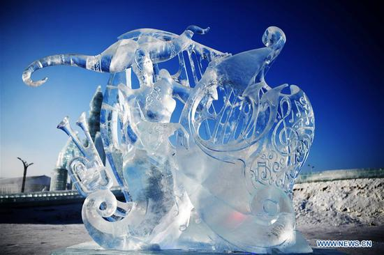 Photo taken on Jan. 8, 2019 shows an ice sculpture made by a team from Mongolia at the 33rd Harbin international ice sculpture contest in Harbin, northeast China's Heilongjiang Province. The contest concluded on Tuesday. (Xinhua/Wang Jianwei)