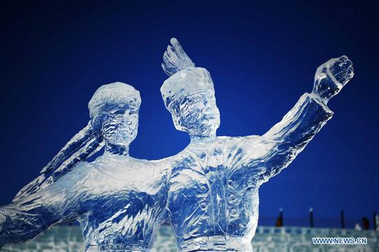 Photo taken on Jan. 8, 2019 shows an ice sculpture made by a team from Poland at the 33rd Harbin international ice sculpture contest in Harbin, northeast China's Heilongjiang Province. The contest concluded on Tuesday. (Xinhua/Wang Jianwei)