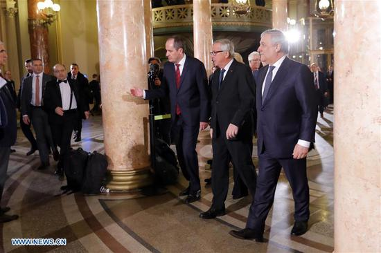 European Commission President Jean-Claude Juncker (2nd R) arrives at the Romanian Atheneum for an official inauguration ceremony marking the start of Romania's Presidency of the Council of the European Union (EU) in Bucharest, capital of Romania, on Jan. 10, 2019. Romania takes over a forefront role on a European level, through the Presidency of the Council of the European Union (EU), and the main objective of its mandate is the consolidation of a more cohesive, more united and stronger Europe, President Klaus Iohannis said late Thursday at the official inauguration ceremony for its Presidency in the EU Council. (Xinhua/Cristian Cristel)