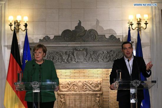 German Chancellor Angela Merkel (L) and Greek Prime Minister Alexis Tsipras attend a joint press conference in Athens, Greece, on Jan. 10, 2019. The European spirit has been strengthened through the management of common challenges and Europe will have a better future through cooperation and not nationalism, German Chancellor Angela Merkel said on Thursday at the start of a two-day visit to Athens. (Xinhua/Marios Lolos)