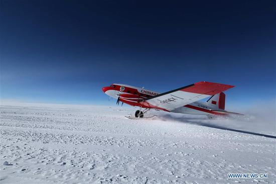 China's first fixed-wing aircraft for polar flight Snow Eagle 601 takes off at the Kunlun Station at about 4,000 meters above the sea level near Dome A, Jan. 18, 2019. Snow Eagle 601 landed successfully at the airport of Kunlun Station on Friday, the third time the aircraft landed successfully in the airport since its use. (Xinhua/Liu Shiping)