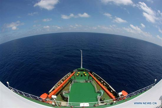 China's research icebreaker Xuelong sails on the South China Sea, March 6, 2019. China's research icebreaker Xuelong, carrying members of China's 35th research mission to Antarctica, sailed on the South China Sea on Wednesday and is expected to return to Shanghai six days later. (Xinhua/Liu Shiping)