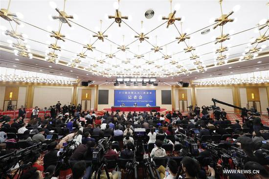 Liu Yongfu, director of the State Council Leading Group Office of Poverty Alleviation and Development, attends a press conference on the country's battle against poverty for the second session of the 13th National People's Congress in Beijing, capital of China, March 7, 2019. (Xinhua/Shen Bohan)