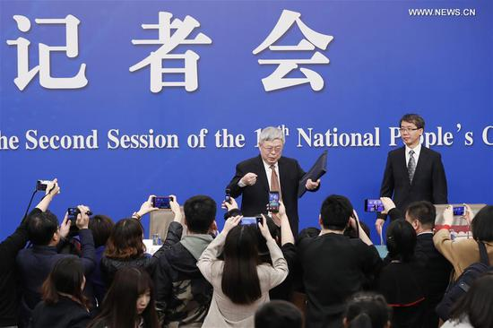Liu Yongfu, director of the State Council Leading Group Office of Poverty Alleviation and Development, attends a press conference on the country's battle against poverty for the second session of the 13th National People's Congress in Beijing, capital of China, March 7, 2019. (Xinhua/Li Ran)