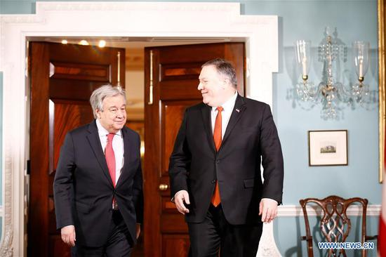 U.S. Secretary of State Mike Pompeo (R) meets with United Nations Secretary-General Antonio Guterres at the Department of State in Washington D.C., the United States, on March 13, 2019. (Xinhua/Ting Shen)