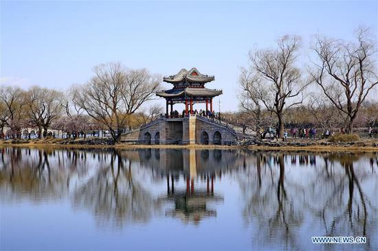 Photo taken on March 13, 2019 shows the scenery in the Summer Palace in Beijing, capital of China. (Xinhua/Liu Xianguo)