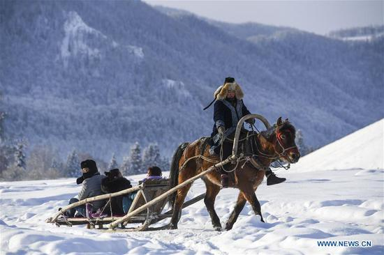Tourists take horse sledge to enjoy the snowy scenery at Hom Village in Burqin County, northwest China's Xinjiang Uygur Autonomous Region, Jan. 11, 2019. Xinjiang has organized various events to boost its winter tourism industry. Between November of 2018 and January of 2019, Xinjiang received more than 11 million tourists at home and abroad, an increase of over 50 percent year on year. (Xinhua/Hu Huhu)