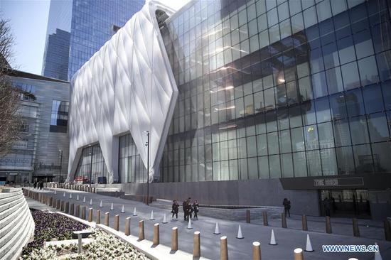 Photo taken on April 3, 2019 shows the building of The Shed, a new arts center in New York, the United States. The Shed, New York City's new arts center that commissions, develops, and presents original works of art, across all disciplines, for all audiences, will open to the public on April 5 with the world premiere of Soundtrack of America. (Xinhua/Wang Ying)