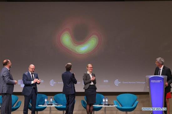 Photo taken on April 10, 2019 shows a press conference unveiling the first image of a black hole in Brussels, capital of Belgium. Astronomers said here Wednesday that they captured the first image of a black hole, unveiling the first direct visual evidence of an unseeable cosmic object and its shadow. (Xinhua/Zhang Cheng)