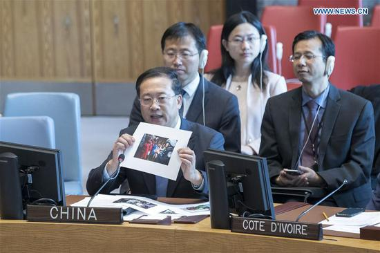 Ma Zhaoxu (Front), China's permanent representative to the United Nations, addresses a UN Security Council open debate on women in peacekeeping at the UN headquarters in New York, on April 11, 2019. Ma Zhaoxu on Thursday asked for more efforts from the international community to boost women's participation in peacekeeping. (Xinhua/Li Muzi)