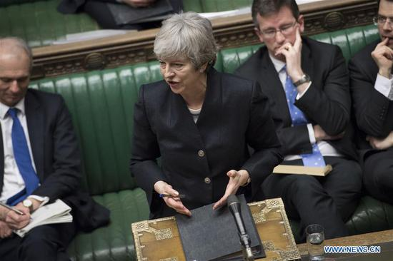 British Prime Minister Theresa May (Front) speaks in the House of Commons in London, Britain, on April 11, 2019. Theresa May on Thursday faced tough questioning from lawmakers about the latest Brexit developments, including a call to resign, after she returned from Brussels with a new Brexit extension. (Xinhua/UK Parliament/Jessica Taylor)