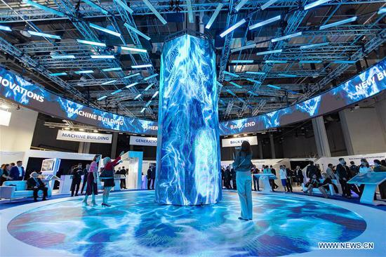 Photo taken on April 15, 2019 shows Russia's Rosatom State Corporation booth during the 11th ATOMEXPO in Sochi, Russia. Global experts called for the further development of nuclear technology and cooperation so as to cope with climate change and realize sustainable development at the 11th ATOMEXPO International Forum here on Monday. (Xinhua/Bai Xueqi)