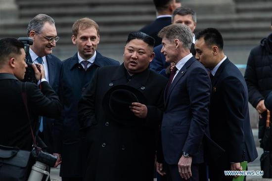 Top leader of the Democratic People's Republic of Korea (DPRK) Kim Jong Un attends the welcome ceremony in Vladivostok, Russia, April 24, 2019. Kim Jong Un arrived here in his train on Wednesday for his first meeting with Russian President Vladimir Putin on Thursday. (Xinhua/Bai Xueqi)