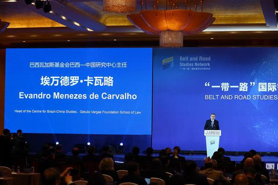 Evandro Menezes de Carvalho, head of the centre for Brazil-China Studies of the Getulio Vargas Foundation School of Law, speaks during the inauguration meeting of the Belt and Road Studies Network (BRSN) in Beijing, capital of China, April 24, 2019. The Belt and Road Studies Network (BRSN), co-initiated by Xinhua Institute and 15 other think tanks, was inaugurated in Beijing Wednesday. (Xinhua/Zhang Yuwei)