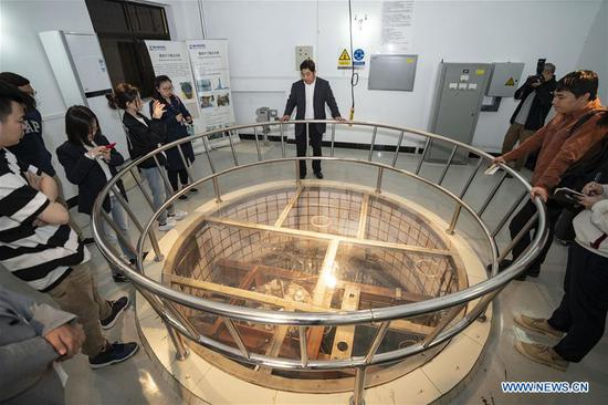 Journalists visit a Miniature Neutron Source Reactor (MNSR) at the China Institute of Atomic Energy (CIAE) of China National Nuclear Corporation in Xinzhen Town of Beijing, capital of China, April 18, 2019. CIAE is the birthplace of China's nuclear technology. (Xinhua/Cai Yang)
