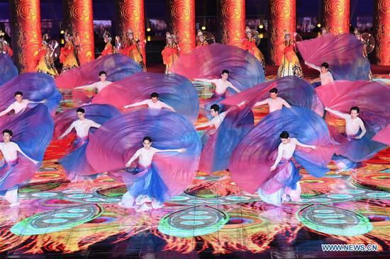 An evening gala is staged for the opening ceremony of the International Horticultural Exhibition 2019 Beijing in Yanqing District of Beijing, capital of China, April 28, 2019. (Xinhua/Shen Hong)