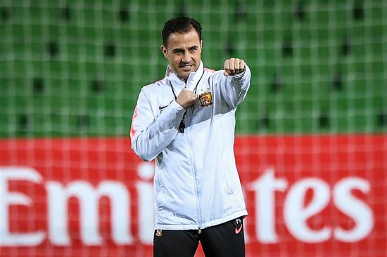 Fabio Cannavaro, head coach of Guangzhou Evergrande, takes part in a training session before the AFC Champions League Group F match against Melbourne Victory in Melbourne, Australia,  in this Apri 22, 2019, photo. The Italian resigned as coach of China's national team on Sunday.
