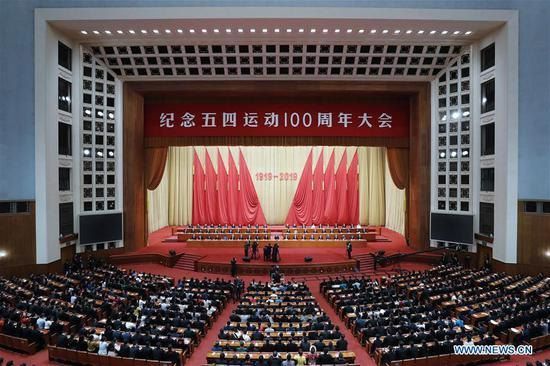 A gathering marking the centenary of the May Fourth Movement is held at the Great Hall of the People in Beijing, capital of China, on April 30, 2019. (Xinhua/Liu Bin)