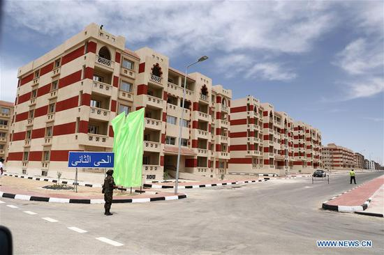 The photo taken on May 5, 2019 shows a general view of Ismailia New City in Ismailia, Egypt. Egyptian President Abdel-Fattah al-Sisi said on Sunday that all companies working on the country's national development projects are run by civilians, stressing that the military's role is only supervisory. (Xinhua/Ahmed Gomaa)