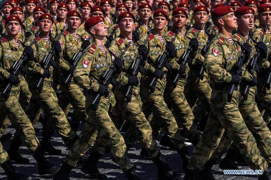 Russian servicemen march on the Red Square during a rehearsal for the Victory Day parade in Moscow, Russia, May 7, 2019. The 74th anniversary of the victory over Nazi Germany in World War II will be marked here on May 9. (Xinhua/Bai Xueqi)