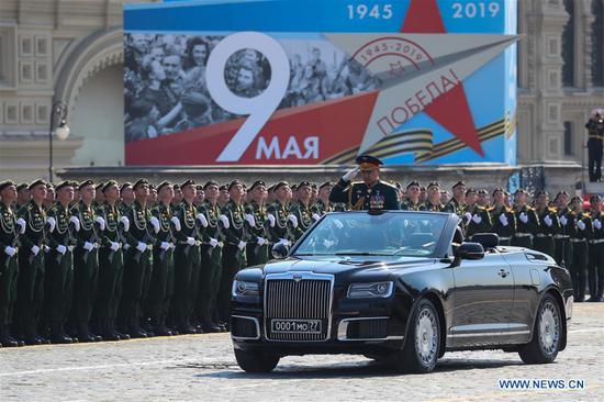 Russian Defence Minister Sergei Shoigu (front) takes part in a rehearsal for the Victory Day parade in Moscow, Russia, May 7, 2019. The 74th anniversary of the victory over Nazi Germany in World War II will be marked here on May 9. (Xinhua/Bai Xueqi)