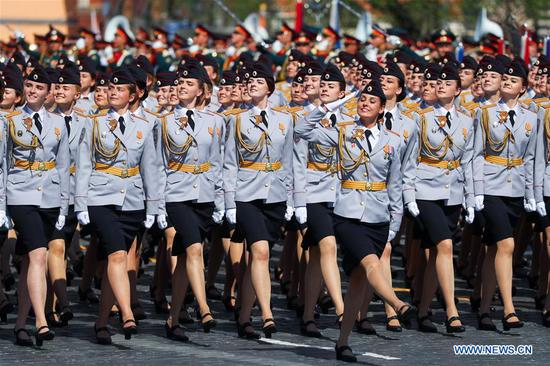 Russian servicewomen march on the Red Square during a rehearsal for the Victory Day parade in Moscow, Russia, May 7, 2019. The 74th anniversary of the victory over Nazi Germany in World War II will be marked here on May 9. (Xinhua/Bai Xueqi)