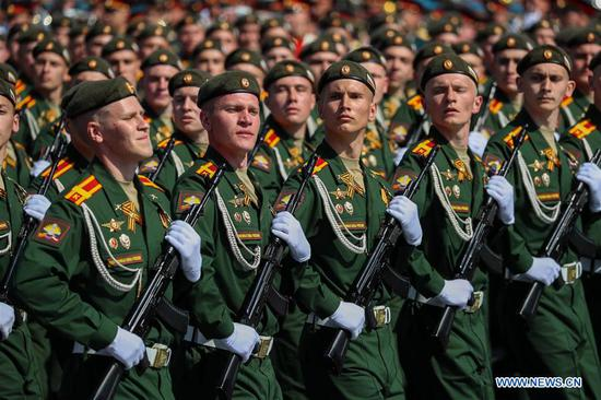 Russian military cadets march on the Red Square during a rehearsal for the Victory Day parade in Moscow, Russia, May 7, 2019. The 74th anniversary of the victory over Nazi Germany in World War II will be marked here on May 9. (Xinhua/Bai Xueqi)