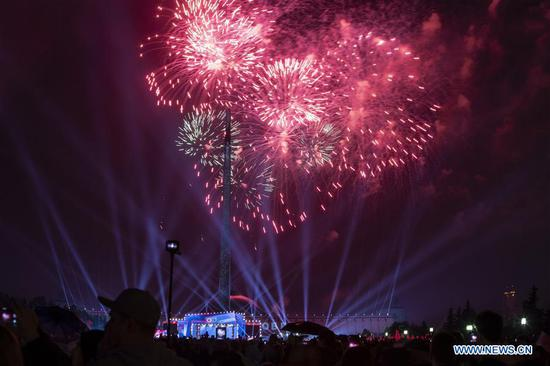 Fireworks light the sky during the Victory Day celebrations in Moscow, Russia, on May 9, 2019. Russia marks the 74th anniversary of the victory over Nazi Germany in World War II on Thursday. (Xinhua/Alexander Zemlianichenko Jr)