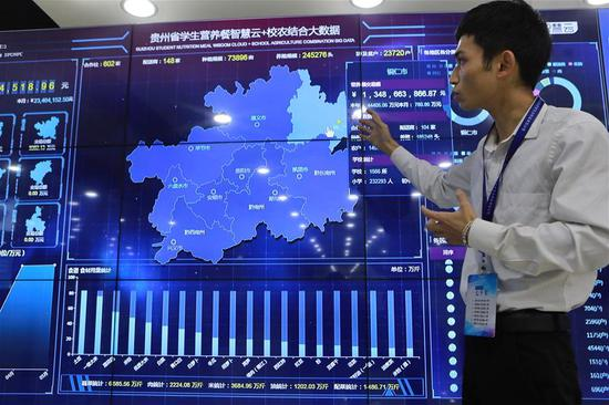 A staff member introduces a big data-based monitoring system in Tongren, southwest China's Guizhou Province, May 21, 2019. Tongren City has established a monitoring system applying new technologies of big data to trace food from farming to dining table, an effort to guarantee food safety for students. (Xinhua/Ou Dongqu)