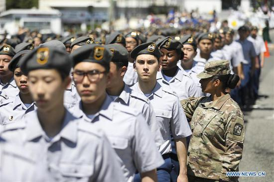 Participants take part in the Memorial Day Parade in Queens of New York, the United States, May 27, 2019. The Memorial Day is a United States federal holiday observed on the last Monday of May. (Xinhua/Wang Ying)