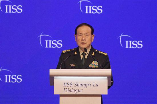 Chinese State Councilor and Defense Minister Wei Fenghe speaks at the 18th Shangri-La Dialogue held in Singapore on June 2, 2019. (Xinhua/Then Chih Wey)